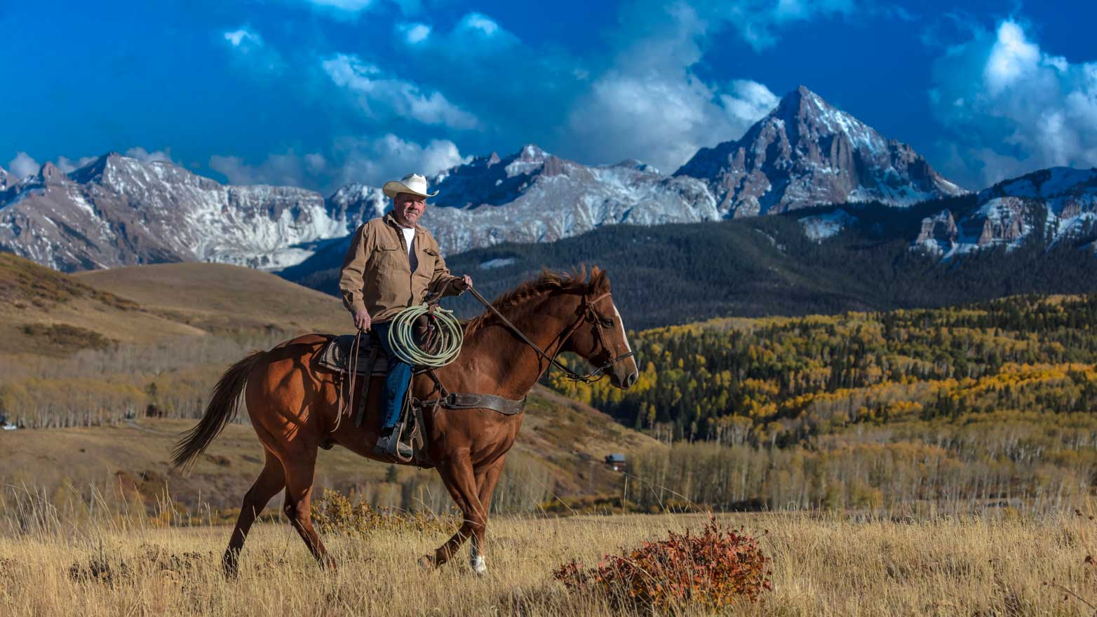 Cowboy, Paul Panther Rides Across Historic Last Dollar Ranch On Hastings Mesa Sw Colorado