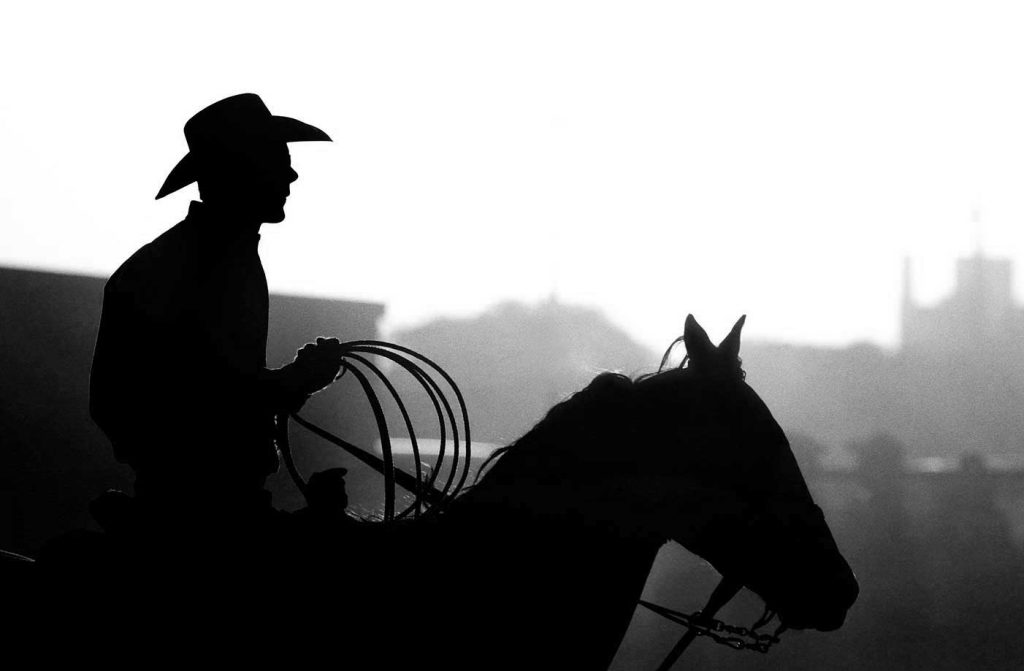 Black And White Cowboy With Horse And Lasso A Dusty Backlit Silhouette